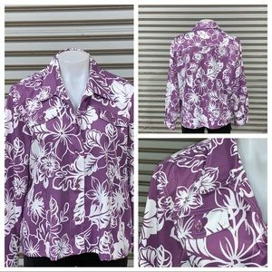 Alfred Dunner jacket purple with white flowers